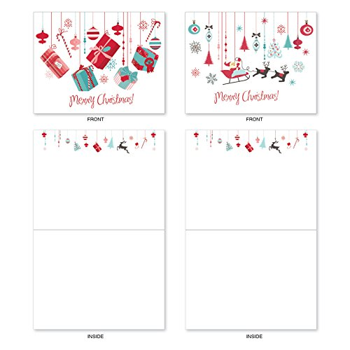 M6663XSB Red And Blue Retro Christmas : 10 Assorted Blank Christmas Note Cards Featuring Charming Christmas and Holiday Designs in Red and Blue, w/White Envelopes. Photo #3