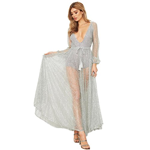 Women Dress, Realdo Deep V Neck Net Yarn Backless Ladies Long Sleeve Maxi Dress