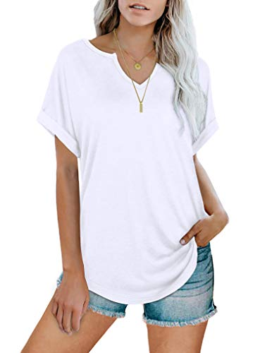 WIHOLL Womens V Neck T Shirts Rolled Short Sleeve Basic Summer Tops