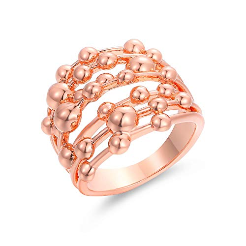 (Barzel Gold, Rose Gold & White Gold Plated Stacked Ring (Rose Gold, 5))