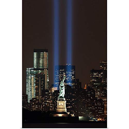 GREATBIGCANVAS Poster Print Entitled World Trade Center Memorial Lights and Statue of Liberty, New York City by 12