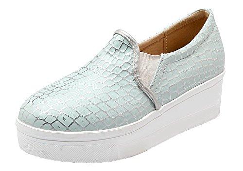 Amoonyfashion Dames Pu-katoenen Hakken Ronde Neus Geruite Pull-on Pumps-schoenen Blauw
