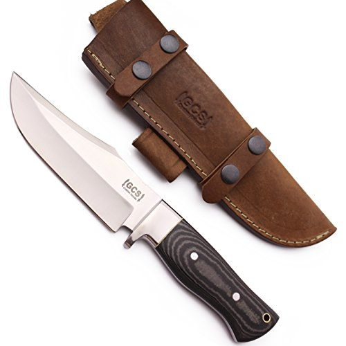 GCS Custom Handmade Stacked Leather Handle D2 Tool Steel Dagger Skinner Bushcraft Knife Knives Bowie Buffalo Hide Sheath 115 -