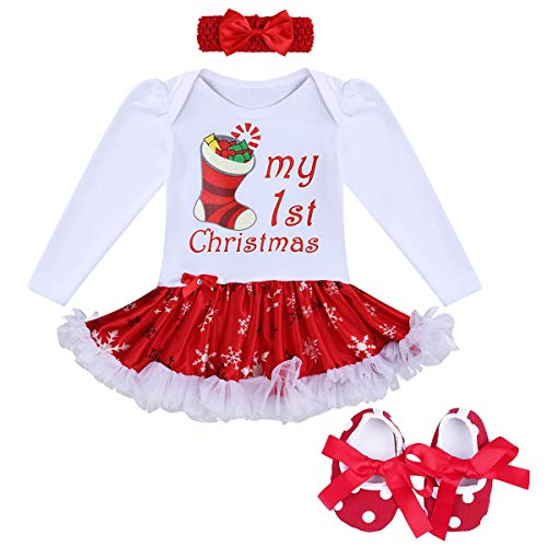My First Christmas Outfit Baby Girls Long Sleeve Romper Dress Bodysuit with Ruffle Tulle Skirt + Bowknot Headband + Crib Shoes Newborn 1st Xmas Birthday Party Dress up Costume 3Pcs -
