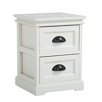 idimex table de chevet landhaus table de nuit 2 tiroirs en bois de paulownia style shabby