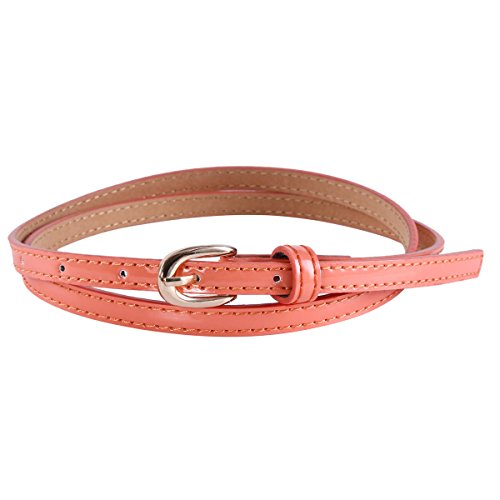 Damara Women Faux Leather Adjustable Dress Casual Skinny Belt,Peach Pink