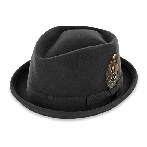 (Belfry Crushable Porkpie Fedora Hat Men's Vintage Style 100% Pure Wool in Black Brown Grey Navy Pecan and Striped Band (Large, Brown))