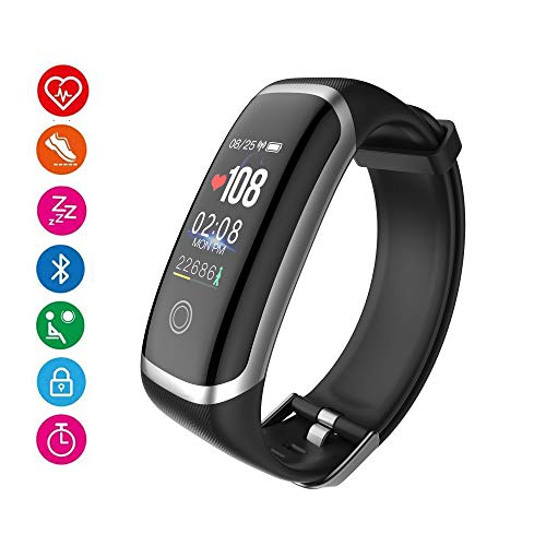 AIBODINI Fitness Tracker, Activity Tracker Heart Rate Sleep Monitor Smart Bracelet with Pedometer Call SMS Reminder Bluetooth IP67 Waterproof for Adult Kids iOS Android Phone