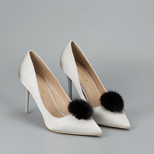 ZAKIA Women' Fluffy Mink Fur Pom Removable Shoe Clips Clutch Wedding Decoration Pack of 2 (Black) by ZAKIA (Image #2)