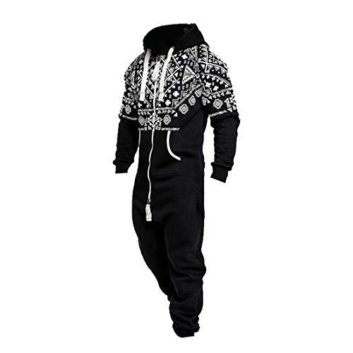 Pingtr Men/'s Zip Onesie Hoodie Jumpsuit Playsuit All in One Piece Winter Xmas Print Casual Hoodie Zipper Onesies Overalls Pajamas