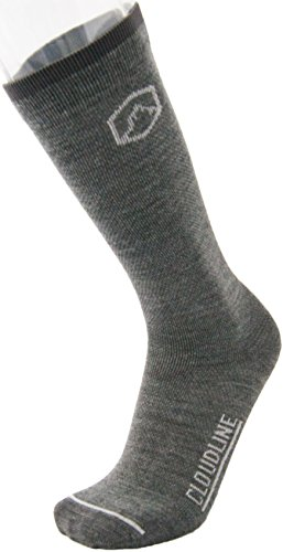 - CloudLine Merino Wool Moderate Compression Socks - 15mmHg - Ultra Light Weight - Large Granite - Made in the USA