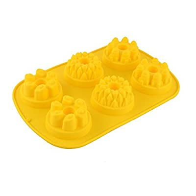 uxcell Silicone Castle Design Six Cavities Homemade Popover Cake Pans Mold Yellow