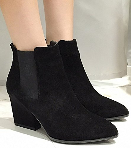 IDIFU Womens Fashion Faux Suede Pull On Pointed Toe High Chunky Heeled Short Ankle High Boots Black g1Huh