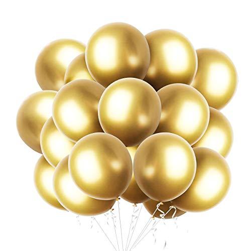 50 Piezas Globos metalicos de Dorado para fiesta Globos de latex Dorado brillante para cumpleanos boda compromiso aniversario baby shower festival picnic graduacion o cualquier decoracion de fiesta