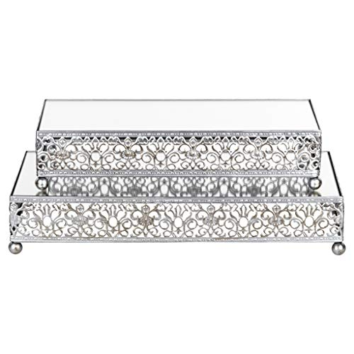 - 2-Piece Rectangular Mirror-Top Cake Stand Risers Dessert Tray Set (Silver)