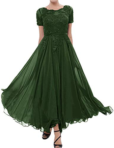 Tea Length Mother of The Bride Dress Short Sleeve Formal Gowns Dark Green 2 (Mother Of The Groom Dresses For Western Wedding)
