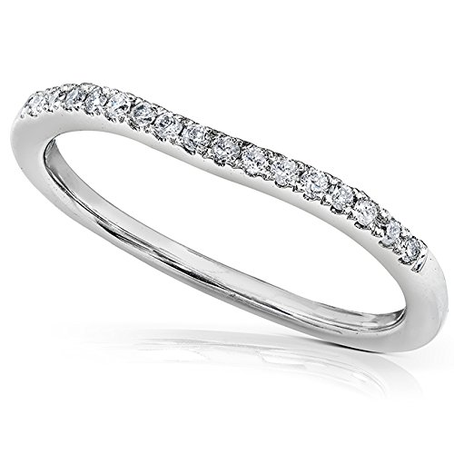 Round Brilliant Diamond Curved Wedding Band 1/10 carat (ctw) in 14K White Gold, Size 5.5, White Gold from Kobelli