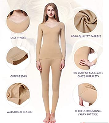 Jinqiuyuan Ropa Interior Caliente de Las señoras de sección Ligera Traje Basa la Camisa Apretada Ropa Interior del Cuerpo de otoño Ropa de Mujer de Long Johns (Color : Red, Size :