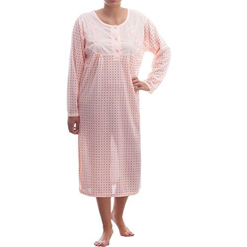 Lucky manga larga noche Camisa con lunares Dessin y bordado albaricoque