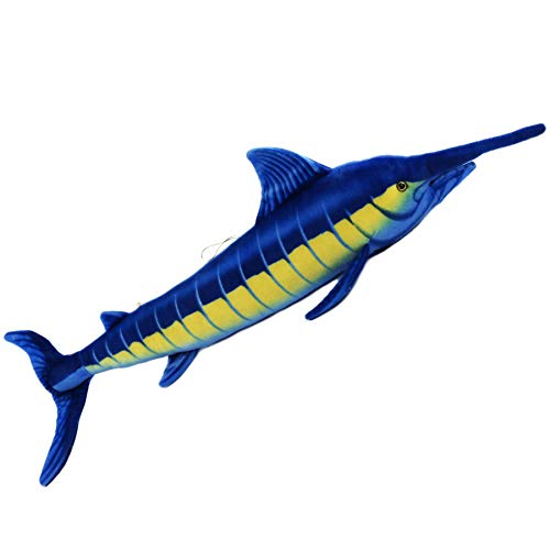 "Houwsbaby Realistic Giant Marlin Soft Plush Stuffed Marine Animal Lifelike Oceanic Fish Toy with String Nice Gift Companion for Kids, Blue, 40"" (Marlin)"
