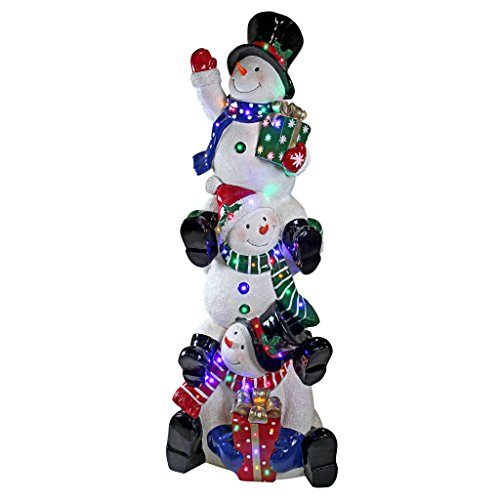 s - Giant 5 Foot Tall Snowflake SnowBros Illuminated Snowman Statue - LED Holiday Decor (Hand Painted Resin Glove)