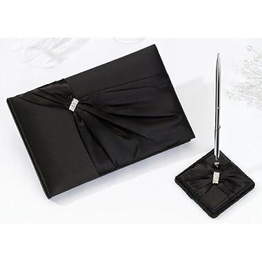 Black Sash Wedding Guest Book & Pen Set