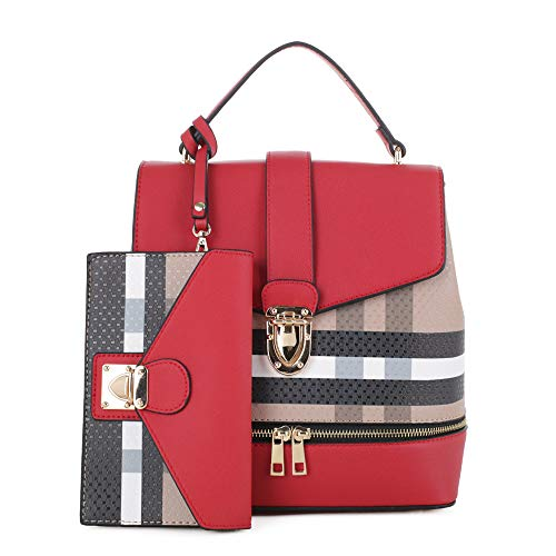 Fashion Casual Faux Leather Shoulder Bag Mini Backpack School Bag for Women 2pc | Brown/Red