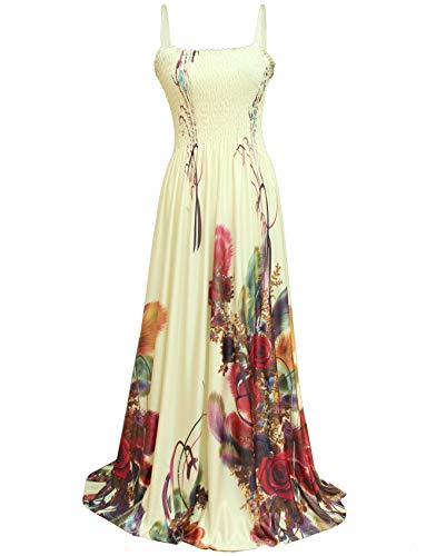 Maxi Dress Women Plus Size Long Floral Wedding Guest Sleeveless Special Occasion (3X(Length 58 inches), Ivory/Floral)