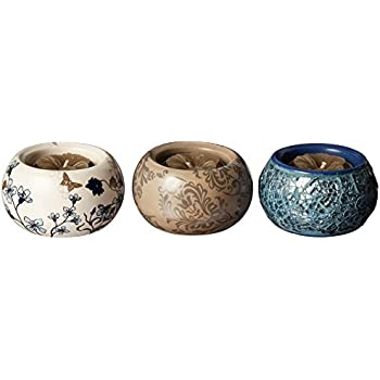 Up Words by Pavilion Blue and Brown Mini Tea Light Candle Holders, Set of 3, Each 2-1/2-Inch Long, Tea Light Candles Included