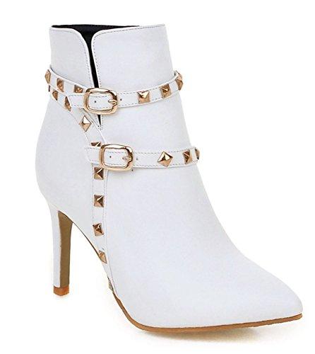 YE Damen High Heel Stiletto Stiefeletten mit Spitze und Schnallen Reißverschluss Nieten Elegant 9cm Absatz Short Ankle Boots Herbst Winter Schuhe Weiß