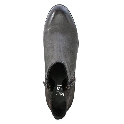 Moda Grey Besti Leder Stiefeletten in Pelle Leather Grau gwBUg
