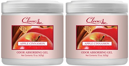 Clear Air Odor Absorber Gel - Air Freshener - Absorbs and Eliminates Odors in Bathrooms, Cars, Boats, RVs and Pet Areas - Made with Natural Essential Oils - 2 Pack (2 x 15 OZ) (Apple Cinnamon)