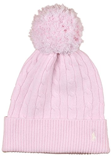 mens Wool Pony Logo Pom Pom Knit Cap Hat (One Size, Pale Pink) ()