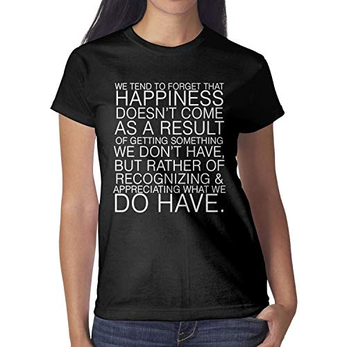 ShaLAFUGUI Organic Women's T Shirts Cotton Motivational Quotes International Day of Happiness Tee Printed