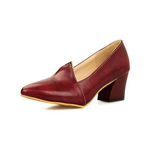 AllhqFashion Damen Ziehen auf PU Spitz Zehe Mittler Absatz Rein Pumps Schuhe Rot