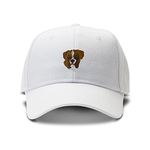 Boxer Head Dogs Pets Embroidery Adjustable Structured Baseball Hat (Dog Head Embroidery)