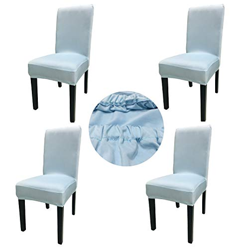 Gold Fortune Spandex Fabric Stretch Removable Washable Dining Room Chair Cover Protector Seat Slipcovers Set of 4 (Light Blue)