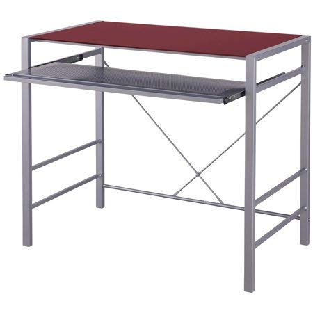 Mainstays Stylish Glass-top Desk Brings Organization to Your Work or Study Area (36 x 20 x 30 inches, Rose Wine)