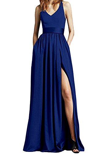 Bowith Femmes Bretelles En Mousseline De Soie Fendu Sur Le Côté Des Robes De Bal Robes De Soirée Bleu Royal