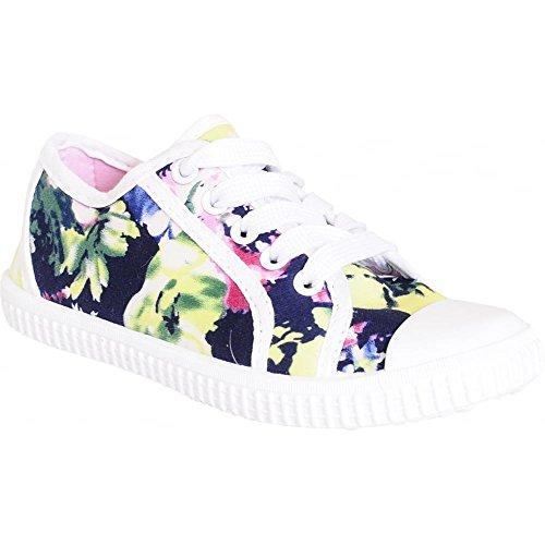 Mädchen Kinder Kinder Dunkel Blau Blumen Gänseblümchen Lace Sich Pumpen Trainer Schuhe KIDS UK1/EU33/US2