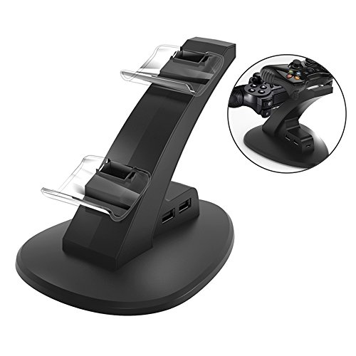 PS4 Controller Charger Charging Station Dual Shock Wireless Controller Charger Playstation 4 for Sony PS4 Slim Pro Controller with 4 Micro USB Charging Dongles & 2 Extra USB (Design Ps3 Playstation)