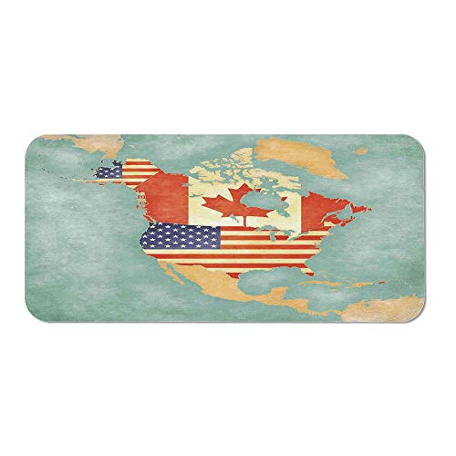 Outline Toilet Roll - Wanderlust Decor Office Mouse Pad,States and Canada Outline Map of The North America in Grunge Stylized Soft Colors for Office Computer Desk,15.75''Wx23.62''Lx0.08''H