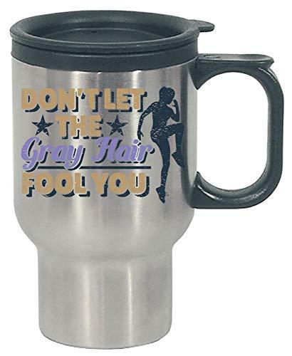 Silver Senior Runner Running Gift - Funny Gray Hair Quote - Stainless Steel Travel Mug
