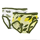 Kickee Pants Little Girls Underwear Set - Lime Blossom Lemon Tree and Natural Olive Branch, 3T/4T
