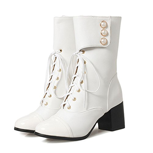 KingRover Women's Fashion Cool PU Leather Hook&Loop Closure Ankle Boots Autumn Winter Outdoor Boots White f44oA