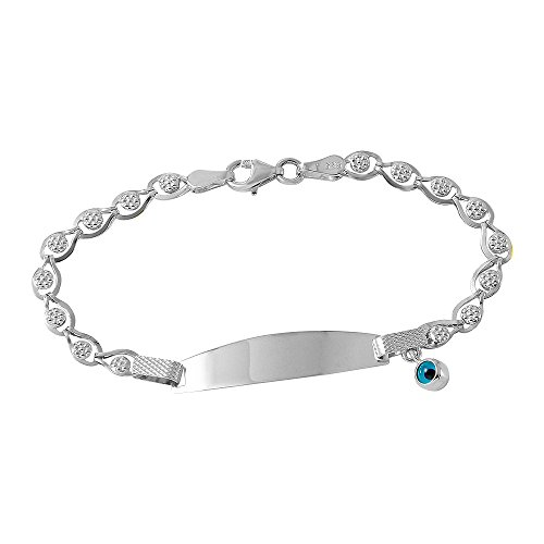 Fine 14k White Gold Baby ID Bracelet with Evil Eye 6'' by Evil Eye by Jewelry America