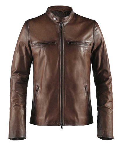 Soul Revolver Cafe Racer Biker Leather Jacket - Antique Brown - M - Antique Racers