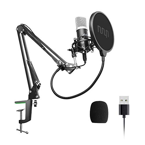 (USB Podcast Condenser Microphone 192kHZ/24bit, UHURU Professional PC Streaming Cardioid Microphone Kit with Boom Arm, Shock Mount, Pop Filter and Windscreen, for Broadcasting, Recording, YouTube )