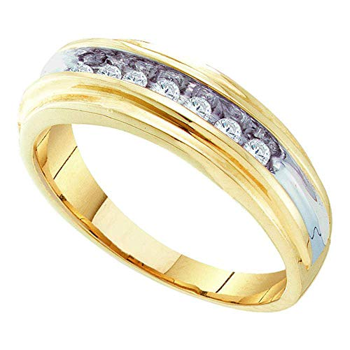 Jewels By Lux 10kt Yellow Two-tone Gold Mens Round Diamond Single Row Wedding Band Ring 1/4 Cttw In Channel Setting (I2-I3 clarity; I-J color)