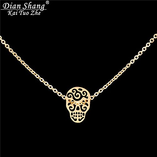 GOLD Stainless Steel Jewelry Tattoo Choker Calavera Mexicana Fashion Design Mexican Sugar Skull Necklace Women Christmas Gift